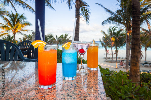 Tropical drinks at the caribbean beach of Mexico