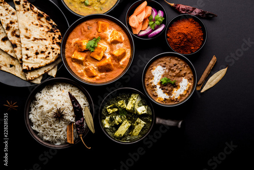 Fotografie, Obraz  Indian Lunch / Dinner main course food in group includes Paneer Butter Masala, D