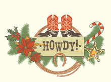 Christmas Decoration With Traditonal American Boots For Winter Western Background