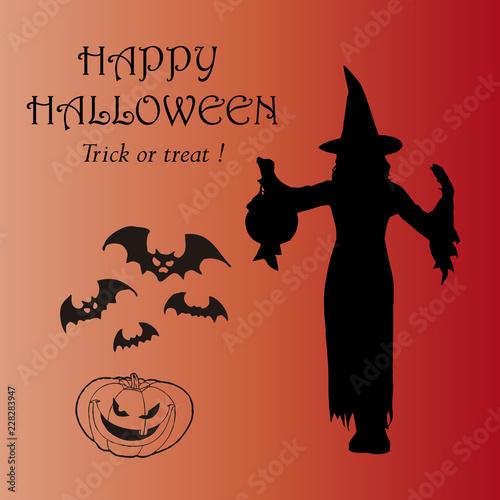 Fotografie, Obraz  Feliz Halloween. Truco o trato. Bruja