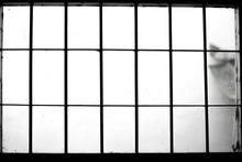 Black And White Old Window With Iron Bar