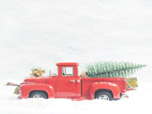 Red Vintage Truck With A Chris...