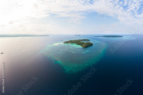 Aerial view tropical island reef Wallpaper Mural