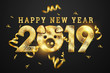 canvas print picture - Creative background, 2019 Happy new year. Gold Numbers Design of greeting card of. Gold Shining Pattern. Happy New Year Banner with 2019 Numbers on a dark background. Confetti, copy space.