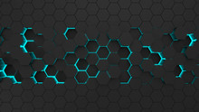 Abstract Black Hexagonal Surface. Futuristic And Technological Concept