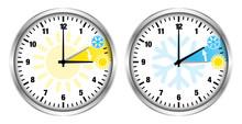 Zwei Uhren Zeitumstellung Symb...