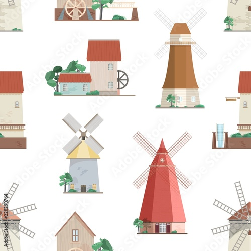 Photo  Seamless pattern with various windmills on white background