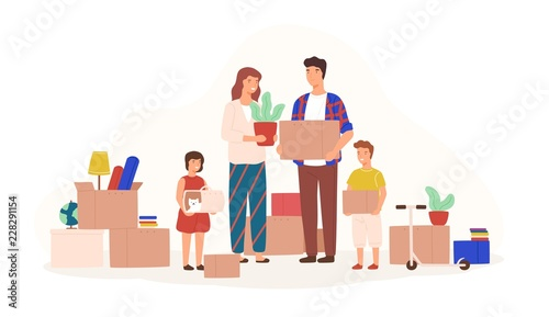 Happy family packing stuff to move to new house or apartment. Mother, father, son and daughter holding boxes, carriage with cat and houseplant. Colorful vector illustration in flat cartoon style. - fototapety na wymiar