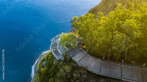 Obraz na plátně Drone photography of Cabo Girao viewpoint situated at Camara de Lobos, Madeira island, Portugal