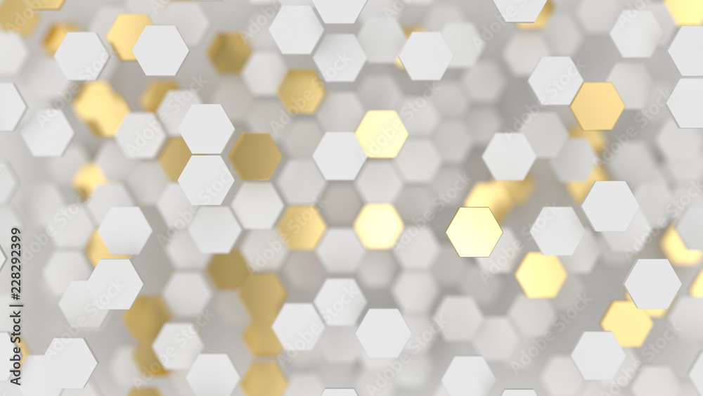 Fototapety, obrazy: Abstract lux background with white and gold 3d hexagons