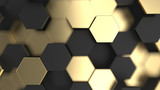 Abstract background with black and gold 3d hexagons