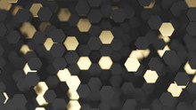 Abstract Lux Background With Black And Gold 3d Hexagons