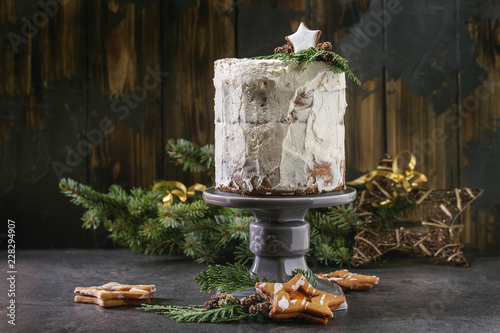 Christmas Homemade White Naked Cake Decorated By Star Cookie And