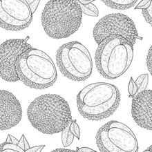 Lichee. Tropical Fruit. Background, Wallpaper, Seamless. Sketch. Monochrome.