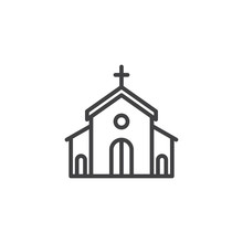 Church Building Outline Icon. Linear Style Sign For Mobile Concept And Web Design. Catholic Church Simple Line Vector Icon. Symbol, Logo Illustration. Pixel Perfect Vector Graphics