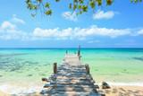 Fototapeta Fototapety pomosty - Long wooden bridge go to the sea in beautiful tropical island, Thailand.