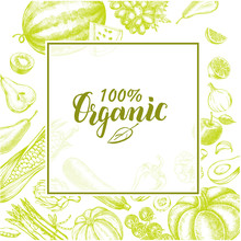 Background With Ink Hand Drawn Various Vegetables And Fruits. Healthy Vegetarian  Food Elements Composition With Brush Calligraphy Style Lettering. Vector Illustration.