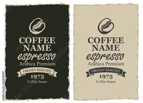 Set of two vector labels for freshly roasted coffee beans with ribbon in frame with ripped edges in retro style with inscription Espresso