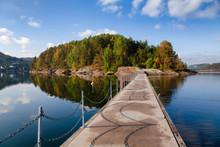 Walkway To Kattoya Island From Olavsberget Bathing Place At Eidangerfjord Near Porsgrunn Telemark Norway Scandinavia