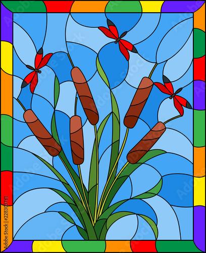 ilustracja-w-stylu-witrazu-z-bukietem-sitowia-i-czerwone-wazki