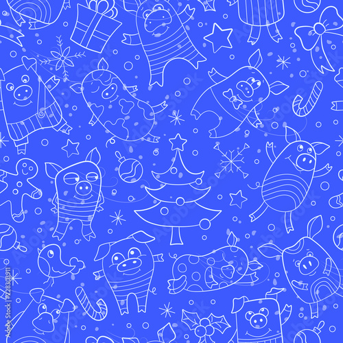 Seamless pattern on new year theme with funny cartoon pigs and snowflakes, light icons on blue background