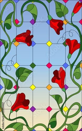 ilustracja-w-stylu-witrazu-z-czerwonymi-kwiatami-splecione-i-lisci-w-oknie