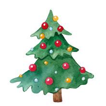 Cute Watercolor Christmas Tree...