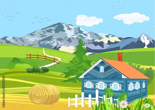 Rural landscape, countryside scene, house lacated among green hills, farmland theme
