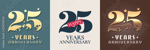 Fotografie, Obraz  25 years anniversary set of vector icon, symbol, logo