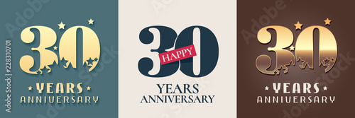 Fotografia 30 years anniversary set of vector icon, symbol, logo