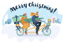 Merry Christmas Card. Couple R...
