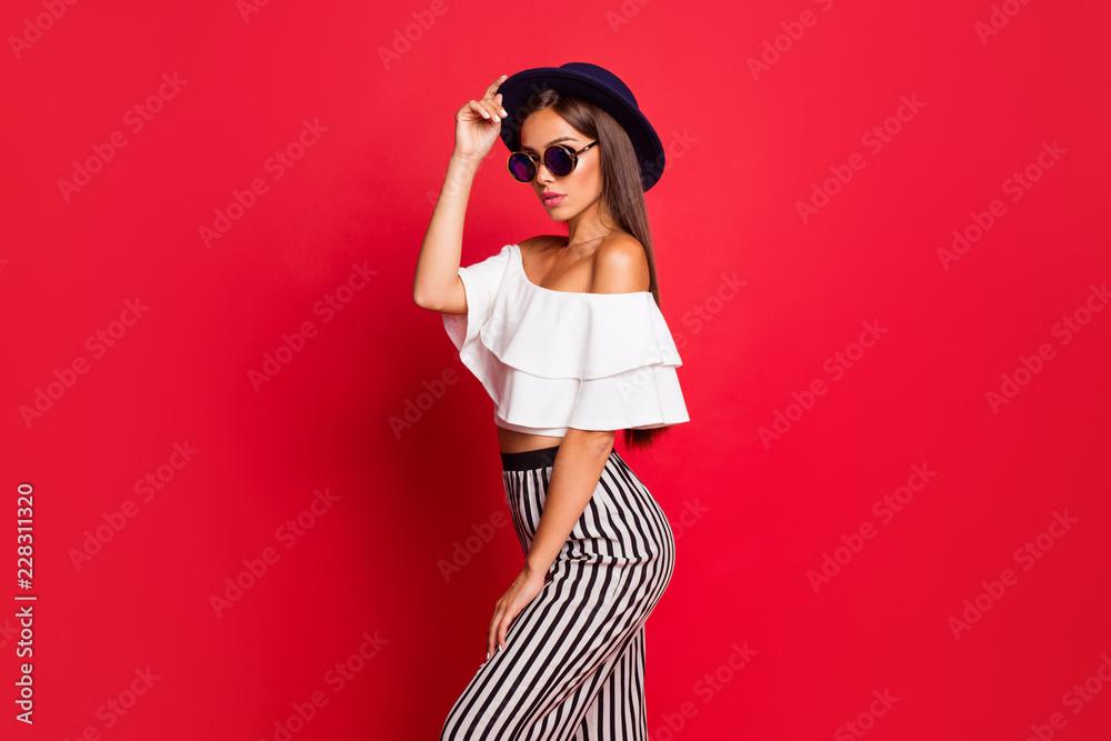 Fototapeta Profile side portrait of cool exquisite charming attractive tend