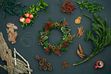 Wreath Garland On Dark Blackbo...