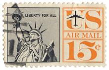 Vintage US Airmail Stamp Statu...