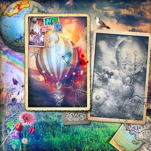Fotobehang Imagination Vecchie cartoline con mongolfiere vintage in un paesaggio rurale
