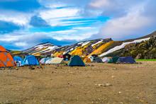View Of Tents And Camping At Landmannalaugar Camping Site