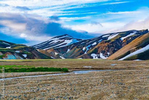 View of Icelandic landscape of mountain at Landmannalaugar