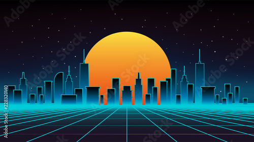 Poster Violet Night cityscape vector illustration. Silhouettes of urban buildings.
