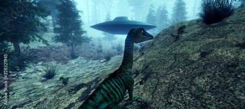 Foto op Canvas UFO Extremely detailed and realistic high resolution 3d illustration of a Dinosaur encountering an Alien Ufo