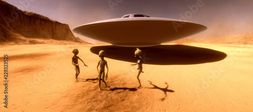 Türaufkleber UFO Extremely detailed and realistic high resolution 3d illustration feauturing 3 dancing Grey Aliens on a Mars like planet