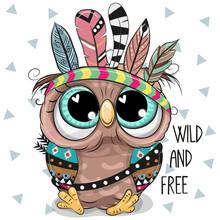 Cute Cartoon Tribal Owl With F...