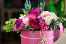Flower Composition In Pink Box