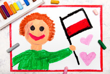 Colorful Drawing: Happy Man Ho...