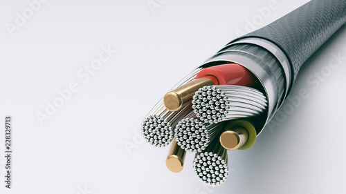 Leinwand Poster USB C 2A cable detail - 3D Rendering