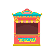 Red Ticket Booth, Amusement Park Element Vector Illustration On A White Background