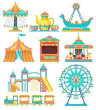 Amusement Park Design Elements Set, Merry Go Round, Carousel, Circus Tent, Ferris Wheel, Train, Ticket Booth Vector Illustration On A White Background