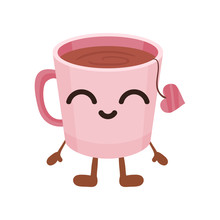 Cute Cup Of Tea With Smiling Face, Funny Fast Food Cartoon Character Vector Illustration On A White Background
