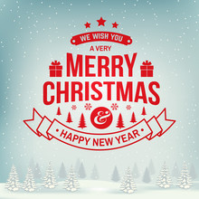 We Wish You A Very Merry Christmas And Happy New Year Stamp, Sticker Set With Snowflakes, Christmas Tree, Gift.