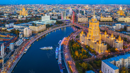 Aerial view of Moscow City with Moscow River, Russia, Moscow skyline with the historical architecture skyscraper and Moskva River.