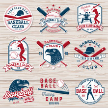 Set Of Baseball Or Softball Club Badge. Vector Illustration. Concept For Shirt Or Logo,